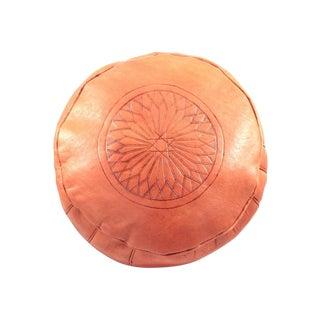 Orange Leather Moroccan Pouf Ottoman For Sale