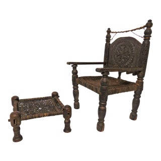 Antique 19th Century Hand Carved Afghan Chief's Chair With Stool For Sale