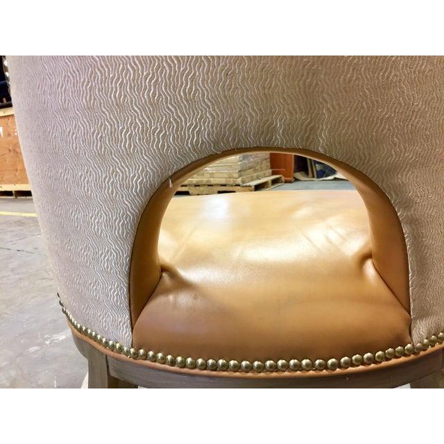 Custom Ordered Leather Nailhead Armchairs - Set of 6 - Image 9 of 11