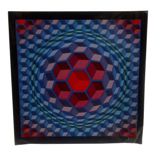 "1971 Victor Vasarely ""Sphere Blocks"" Print For Sale"