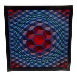 """1971 Victor Vasarely """"Sphere Blocks"""" Print"""