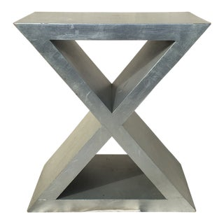 1970s Aluminum-Gilded X-Form Side Table For Sale