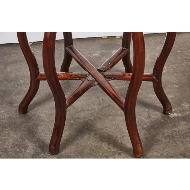 Marble Late 19th Century Chinese Round Rosewood Folding Table For Sale - Image 7 of 8