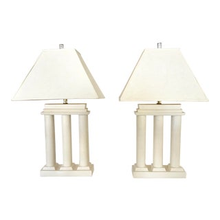 Ceramic Greek Columns Lamps With Lucite Base - a Pair For Sale