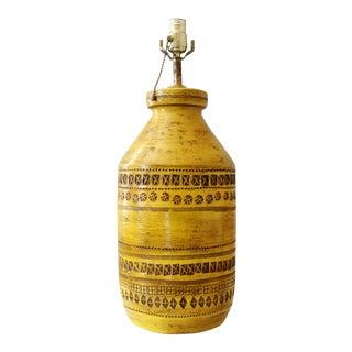 Bitossi Rimini Ceramic Table Lamp Aldo Londi Italian Art Pottery Mid Century Modern Yellow