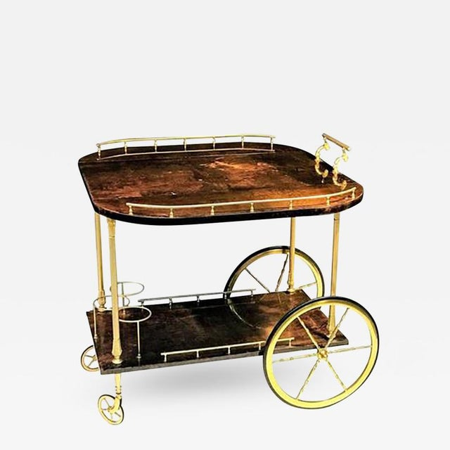 Unusual and Stunning Chocolate Goatskin Bar Cart by Aldo Tura For Sale - Image 9 of 9