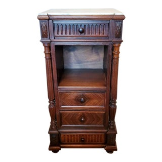 19th Century French Bedside Cabinet with Marble Top For Sale