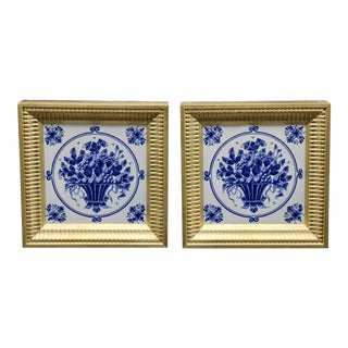 Mid-20th Century Dutch Delft Floral Gilt Wood Framed Tiles - a Pair For Sale