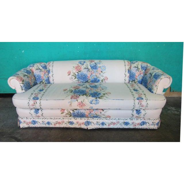 Cream Sherrill Furniture Small Sofa Custom Upholstered in Designer Floral Pattern For Sale - Image 8 of 8