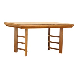 Half Moon Art Deco Dining Table in Oak For Sale