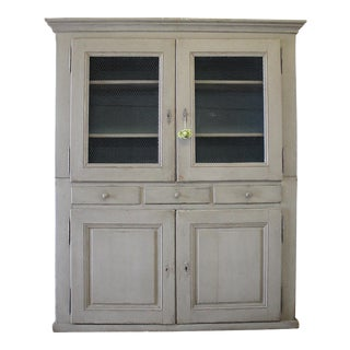Antique Painted Gray Pine Cupboard For Sale