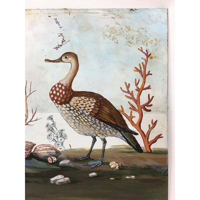 Whimsical seaside birds adorn this vintage metal panel painting. This authentic acrylic painting shows scattered coral,...