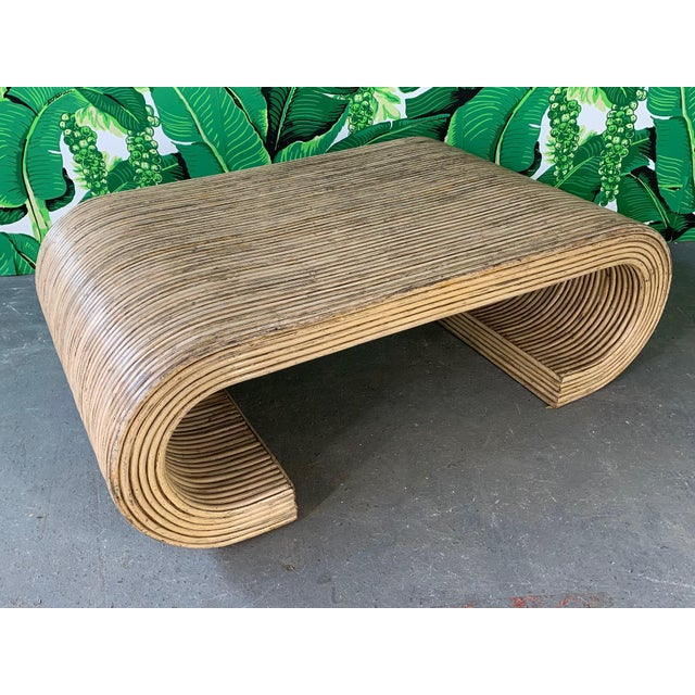 1970s Split Reed Rattan Wrapped Scroll Coffee Table in the Style of Crespi For Sale - Image 5 of 9