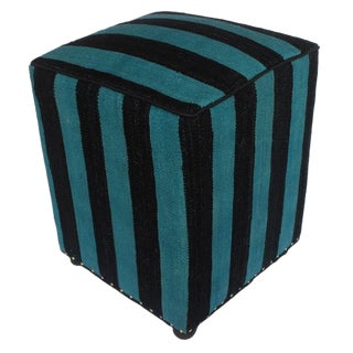 Arshs Deeanna Blue/Black Kilim Upholstered Handmade Ottoman For Sale