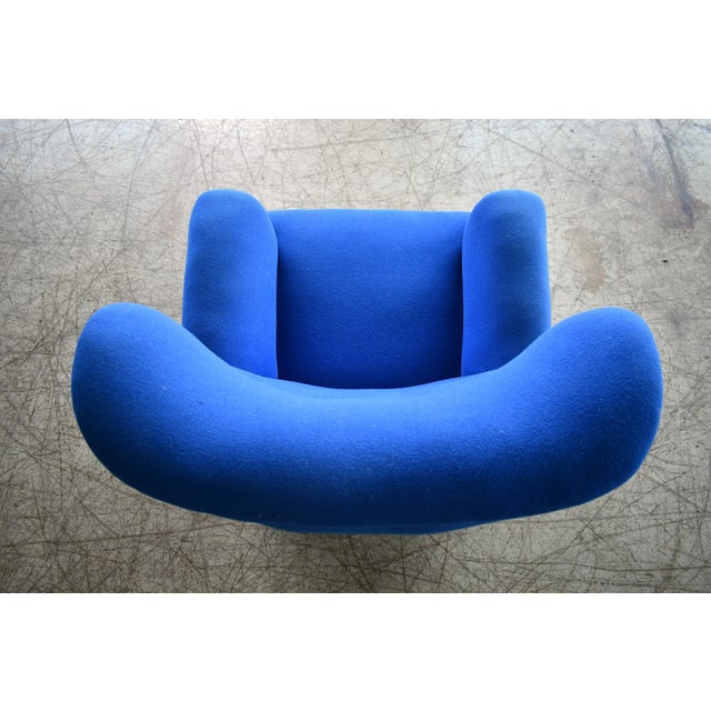 Blue Danish Midcentury Fritz Hansen Style Large Scale Club or Lounge Chair, 1940s For Sale - Image 8 of 10