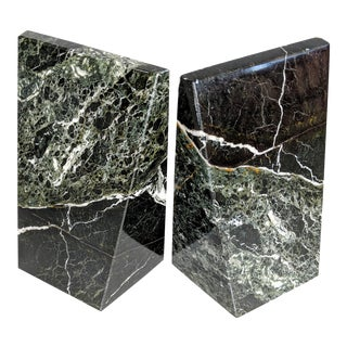 Dark Green, Black and Gray Marble Bookends - a Pair For Sale