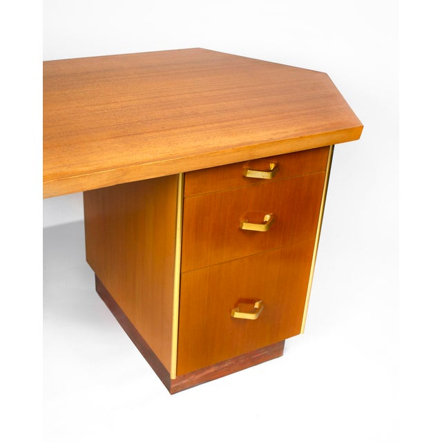 Mid-Century Modern Custom Designed Frank Lloyd Wright Double Pedestal Desk for the Price Tower For Sale - Image 3 of 7
