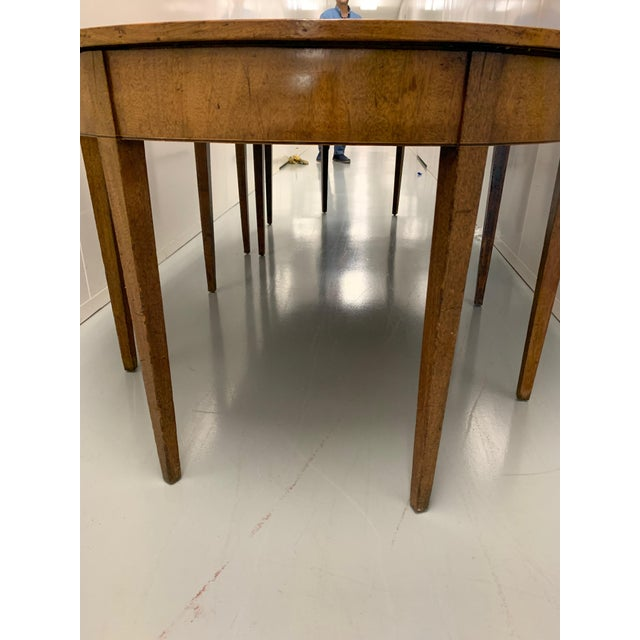 Wood 19th Century Hepplewhite Expandable Mahogany Dining Table With Two Demilunes For Sale - Image 7 of 11