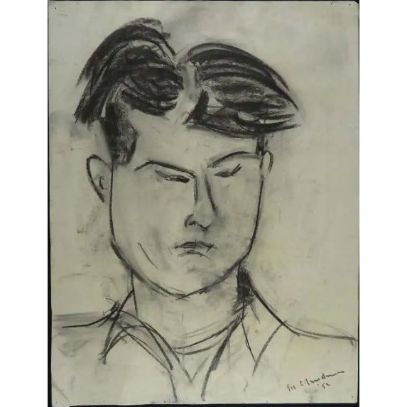 Gray Modernist Portrait of a Man Charcoal Drawing For Sale - Image 8 of 8