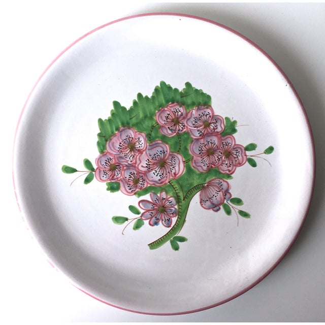 "1980s Italian Faience Geraniums Platter-13"" For Sale - Image 5 of 7"