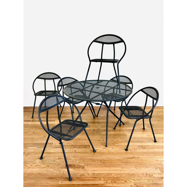 Vintage 1960s Rid-Jid Outdoor Patio Dining Table & 6 Chairs Set - sleek mid century modern design - made of metal - matte...