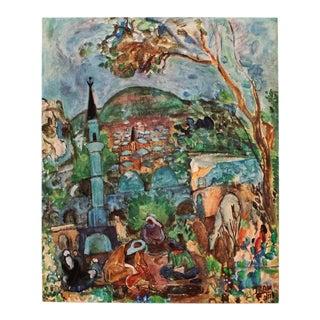 "Rare 1953 Menahem Shemi ""Safed Landscape"", Original Period Israel Photogravure For Sale"
