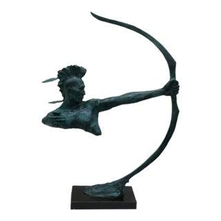 Indian Archer Bronze Sculpture For Sale