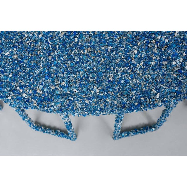 Hand Made Crushed Lapis Lazuli Coffee Table, by Samuel Amoia For Sale In New York - Image 6 of 7