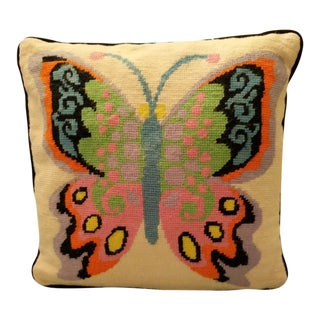 Jonathan Adler Style Vintage Abstract Butterfly Needlepoint Pillow