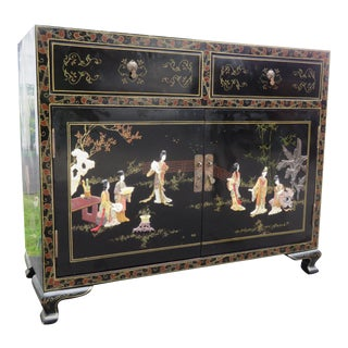 Chinoiserie Hollywood Regency Buffet Sideboard Console Cabinet Bar For Sale