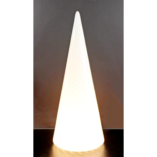 For your consideration is an incredible, large, conical shaped table lamp, made of a single sheet of white and clear...