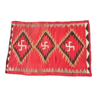 Red Navajo Transitional Rug With Three Central Diamonds For Sale