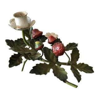 1950s Italian Tole Candleholder With Strawberries