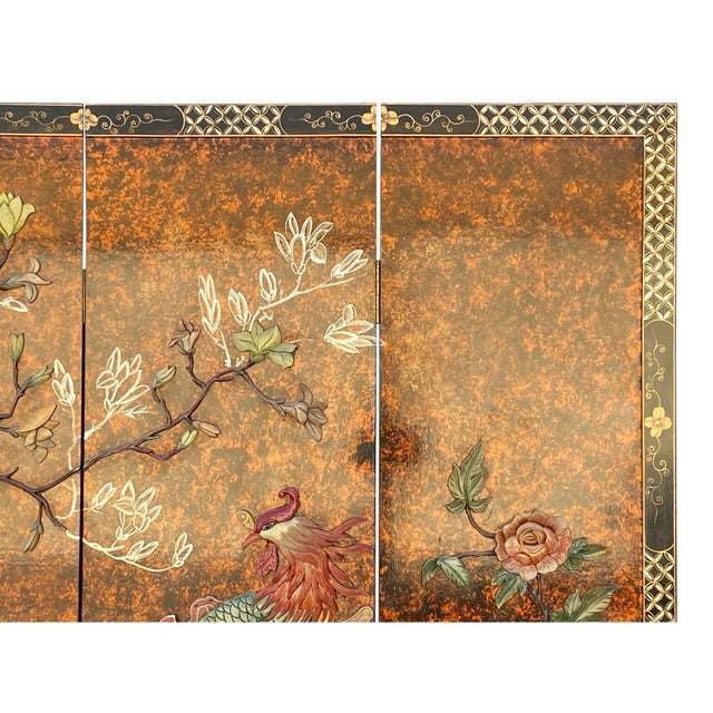 Jade Color Stone Inlaid Black Lacquer Wood Floor Screen Divider For Sale - Image 4 of 11