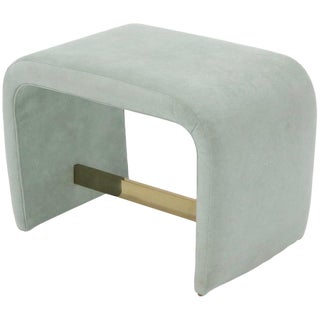 Thayer Coggin Ligh Blue to Teal Upholstered C Shape Window Bench For Sale