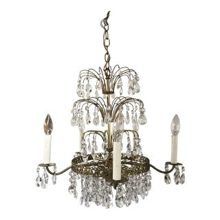 1940s French Crystal Layered Polished Brass Waterfall Chandelier For Sale