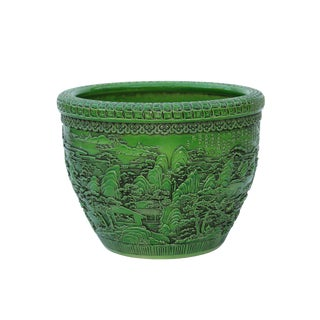 Chinese Ceramic Scenery Relief Motif Lime Green Color Pot Planter For Sale