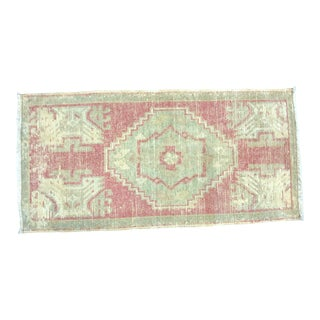 Vintage Distressed Turkish Handmade Wool Red and Green Small Rug For Sale