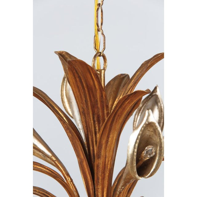 1950s 1950s French Gilded Metal Chandelier For Sale - Image 5 of 13