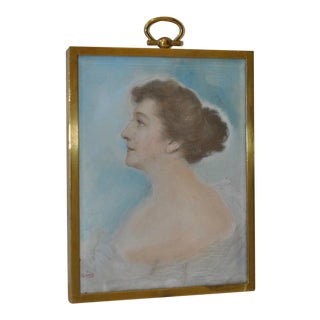 Framed Miniature Portrait of an Elegant Woman c.1910 For Sale