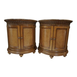 Kreiss Kensington Demilune Nightstands with Marble Tops - A Pair