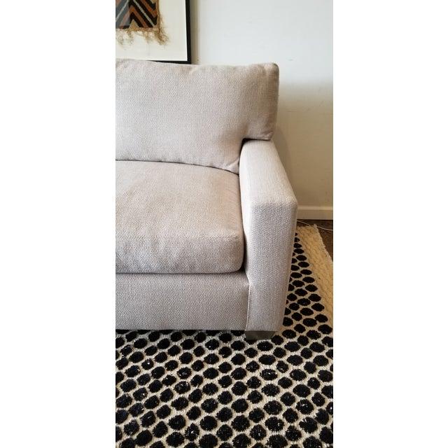 Contemporary 7' Couch designed by Designer Deborah Rhein (DL Rhein Designs). Upholstered in a gorgeous Belgian Linen with...