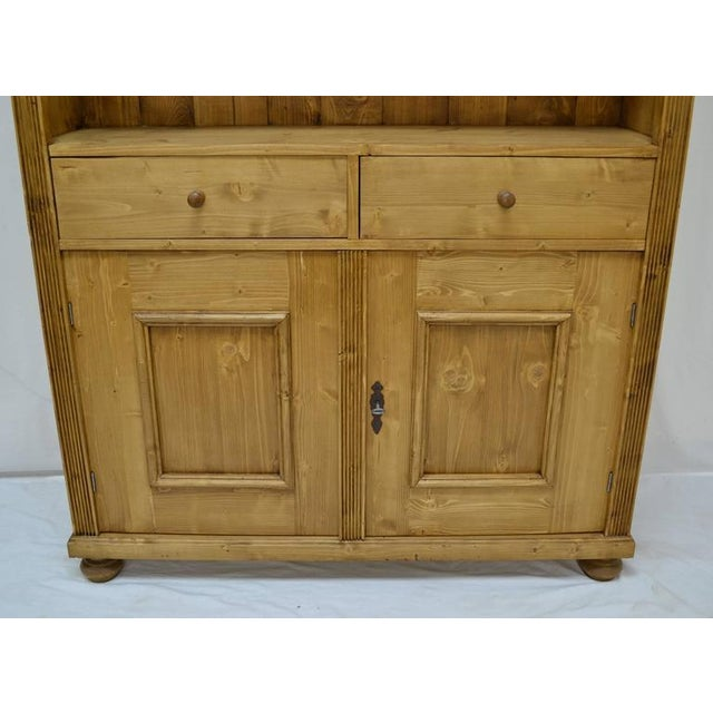 Wood Antique Pine Bookcase With Two Doors and Two Drawers For Sale - Image 7 of 9
