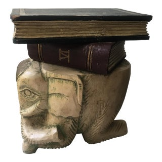 Elephant and Book Hand Carved Painted Wood Stack