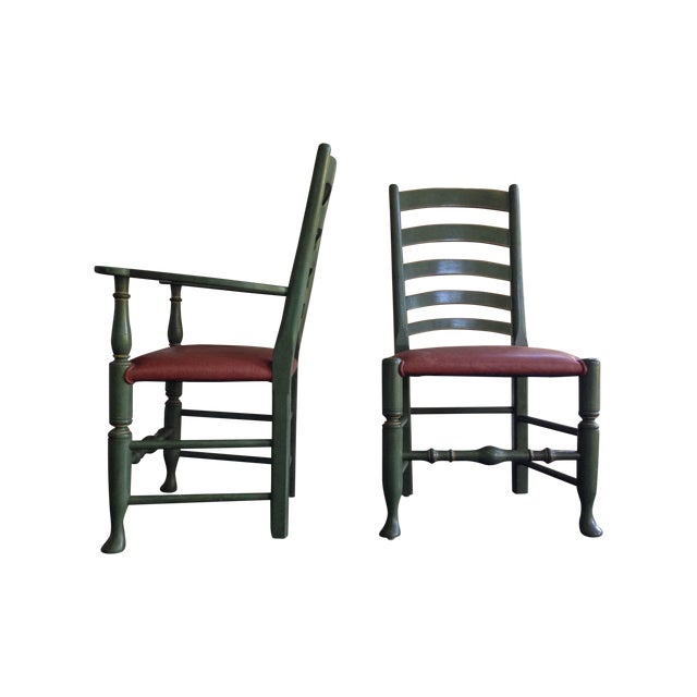 English Walnut Ladder Back Chairs - Set of 6 - Image 1 of 6