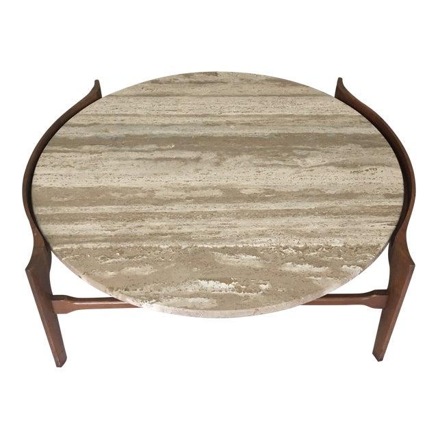 Bertha Schaefer Travertine and Walnut Coffee Table For Sale