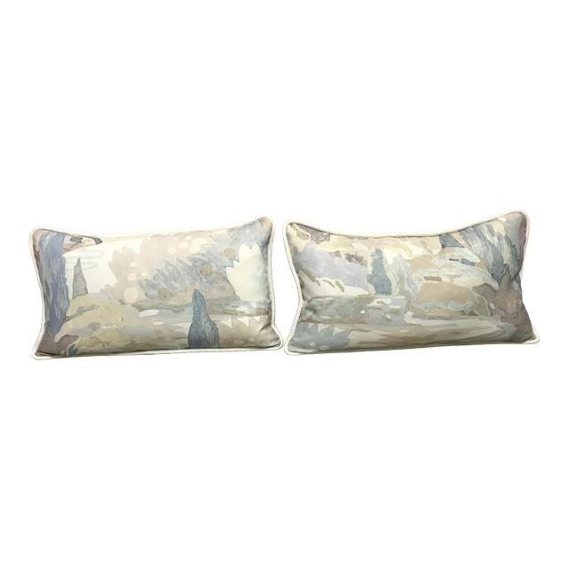 Beacon Hill Decorative Pillows Soo Locks Frost Pattern on Linen Lumbar Pillows - a Pair For Sale