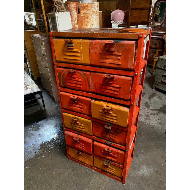 Orange Vintage Industrial Orange 10-Basket Metal Locker Storage For Sale - Image 8 of 13