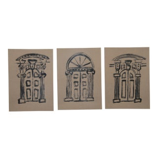 French Country Door Minimalist Paintings by Cleo Plowden - Set of 3 For Sale