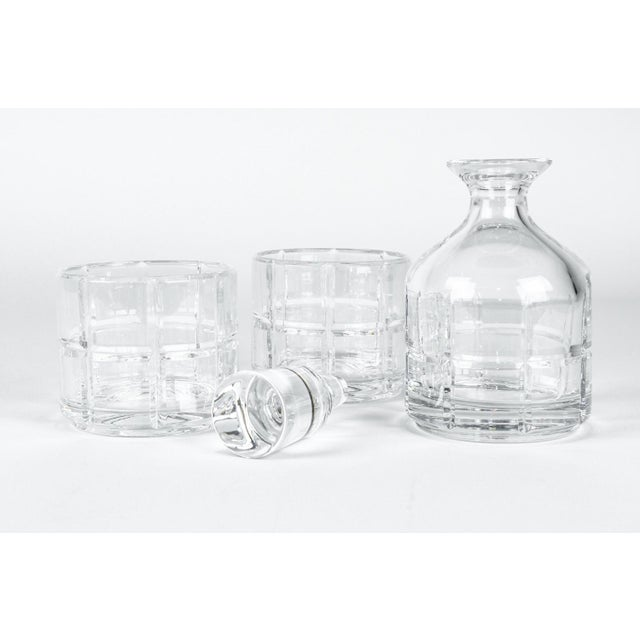 Transparent Cut Crystal Three Pieces Drinks Decanter For Sale - Image 8 of 10